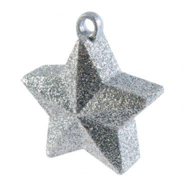 Peso para balão Forma Estrela Prateado Glitter