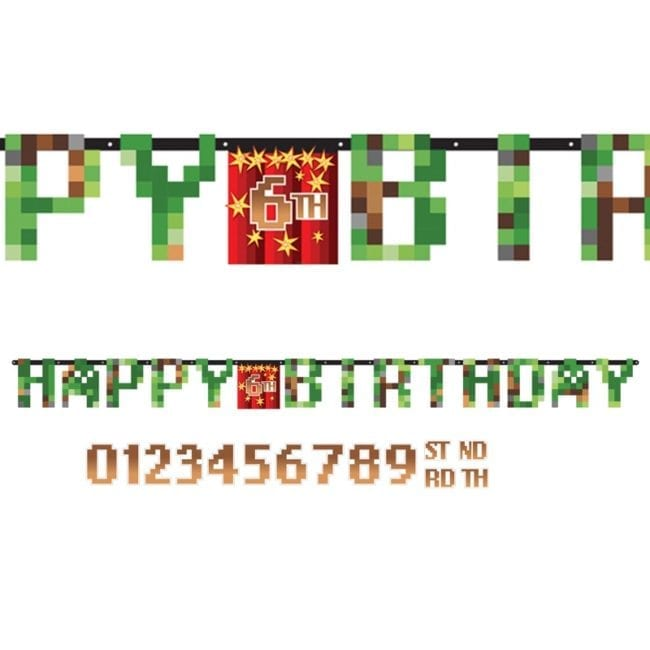 Banner Idade Personalizável  1,6 x 13cm (Minecraft) TNT Party