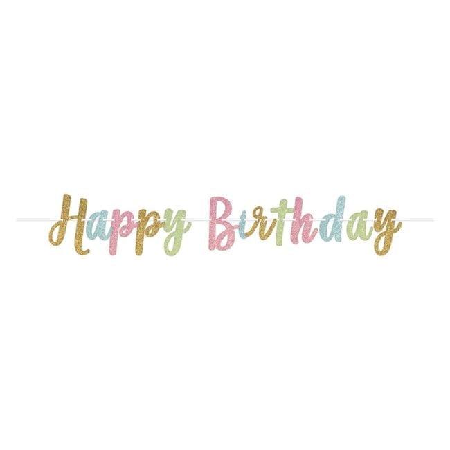 Banner Happy Birthday Pastel Glitter