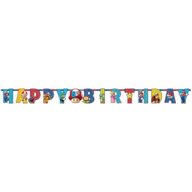 Banner Happy Birthday 1,6m Super Mario