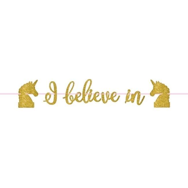"Banner 3,65m ""I Believe in Unicorns"" Dourado Glitter"