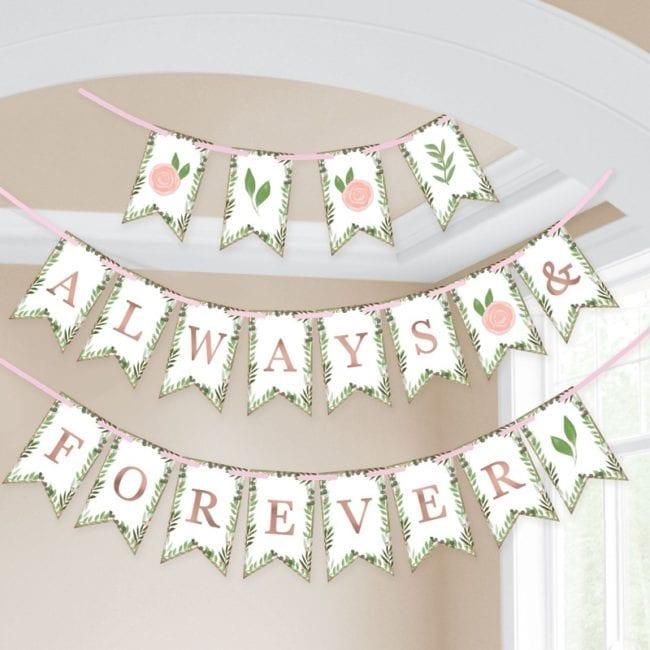 """Banner """"Always & Forever"""" Love & Leaves"""