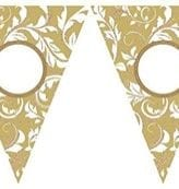 Bandeira Triangular Papel Personalizável Dourado