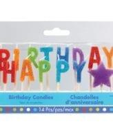"""Velas Aniversário Letras """"Happy Birthday"""" Coloridas"""