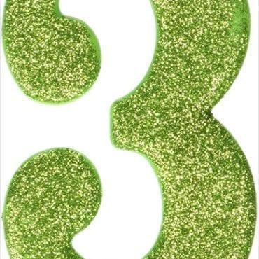 Vela Aniversário 10cm nº3 Verde Lima