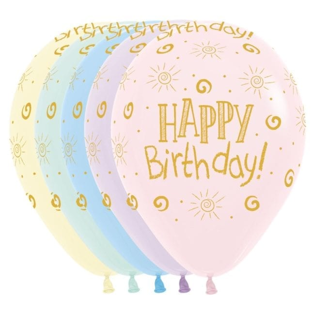 Balões Latex 12'' Happy Birthday Sunshine Pastel Matte