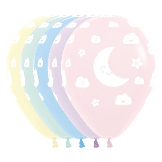 Balões Latex 12'' Pastel Sol, Lua & Nuvens