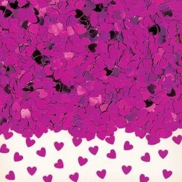 Confettis Corações Rosa Choque