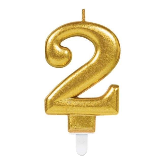 Vela Aniversário Dourado Metalizado nº2