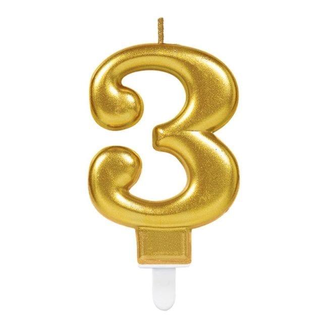 Vela Aniversário Dourado Metalizado nº3