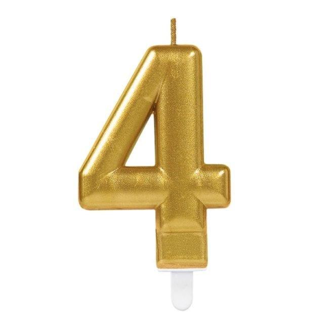 Vela Aniversário Dourado Metalizado nº4