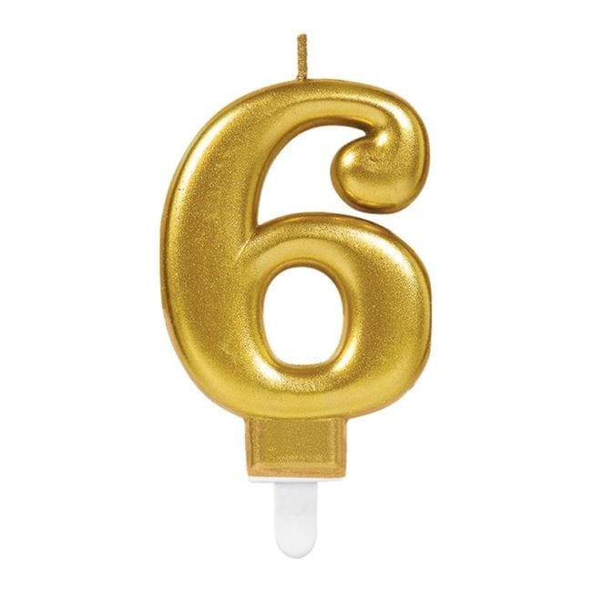 Vela Aniversário Dourado Metalizado nº6