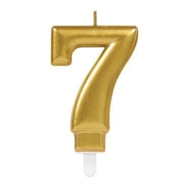 Vela Aniversário Dourado Metalizado nº7