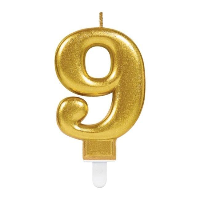 Vela Aniversário Dourado Metalizado nº9