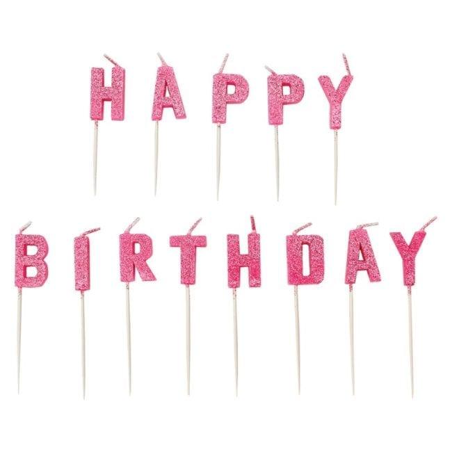 "Velas Aniversário Letras ""Happy Birthday"" Rosa Glitter"