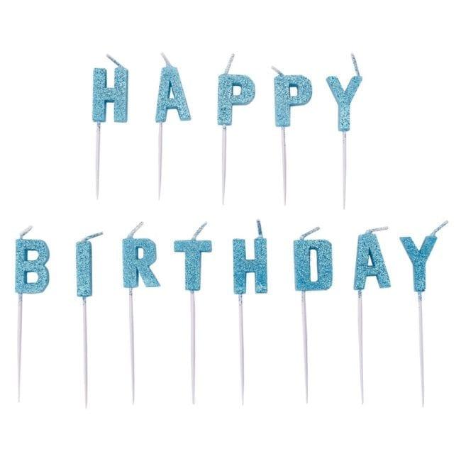 "Velas Aniversário Letras ""Happy Birthday"" Azul Glitter"
