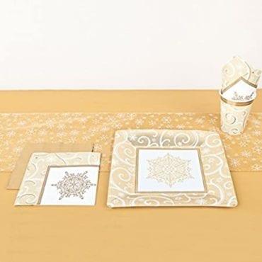 Corredor de Mesa 31,6x30,4cm Shimmering Flocos de Neve Dourado