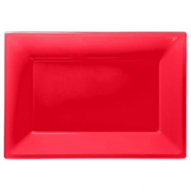 Travessas Plástico 33 x 23cm Vermelho