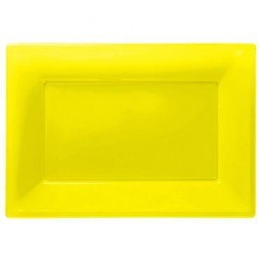 Travessas Plástico 33 x 23cm Amarelo