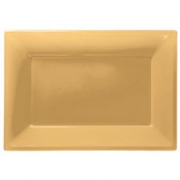 Travessas Plástico 33 x 23cm Dourado