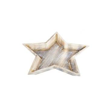 Prato Estrela em Madeira 32x32x4cm