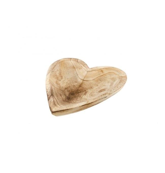 Prato Coração em Madeira 25x5cm