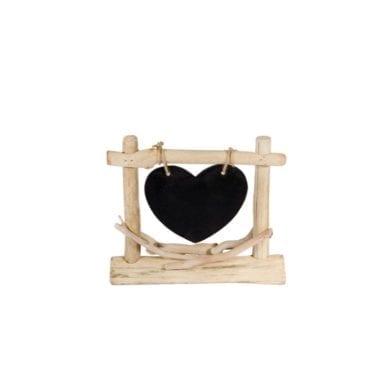 Decoração Madeira Coração com Ardósia 25x21cm