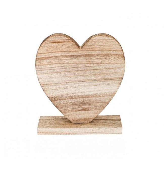 Decoração Coração Madeira 18,5x6x20,5cm