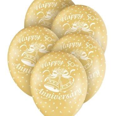 "Balões Latex 12'' ""Happy Anniversary"" Dourado nº 50"