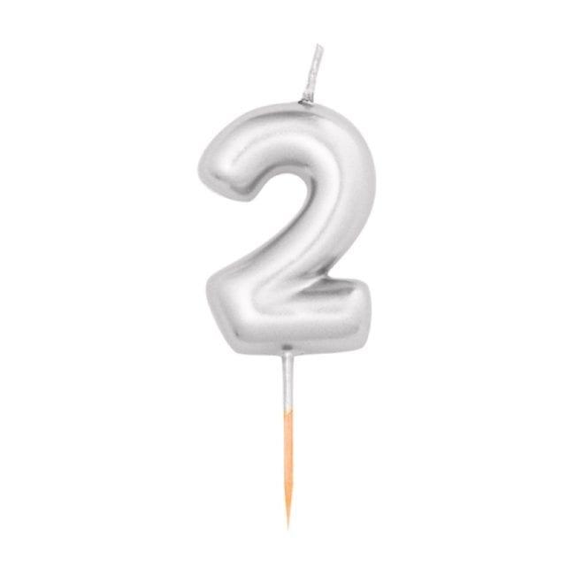 Vela Aniversário 8cm Metalizado Prateado nº2