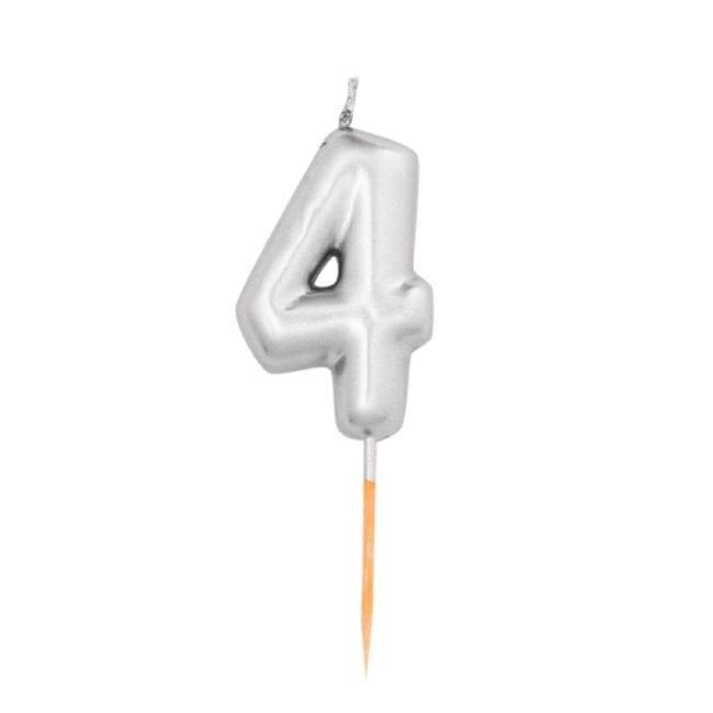 Vela Aniversário 8cm Metalizado Prateado nº4