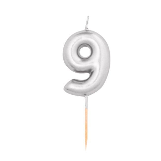 Vela Aniversário 8cm Metalizado Prateado nº9