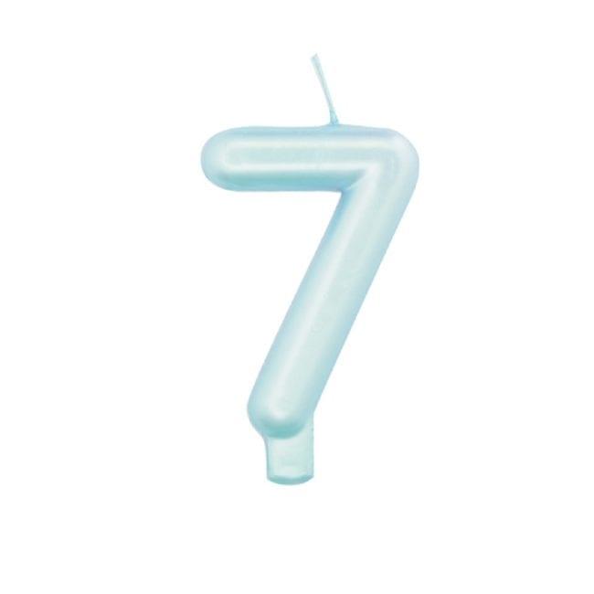Vela Aniversário 9cm Azul Perlado nº7