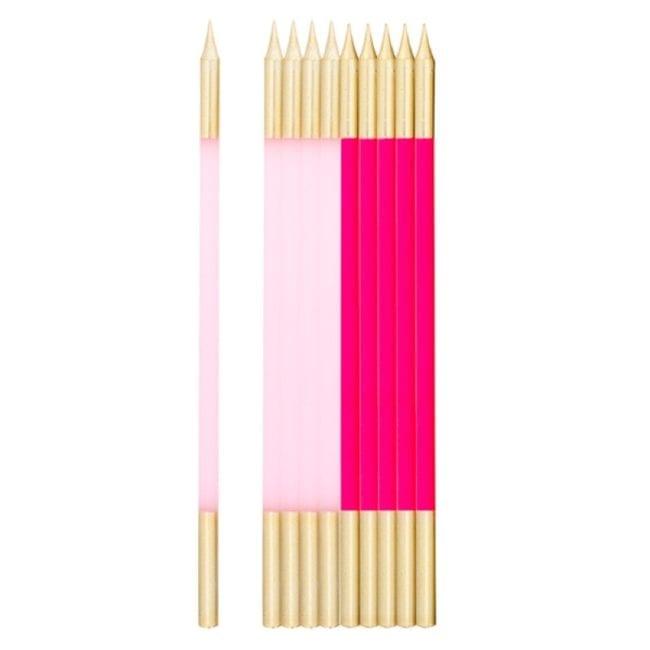 Velas de Aniversário 15,5cm Rosa Choque & Rosa Claro & Dourado