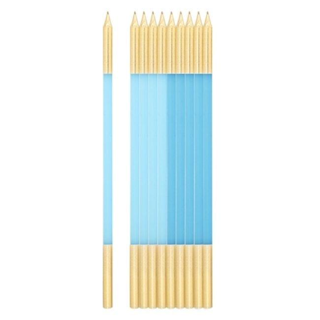 Velas de Aniversário 15,5cm Azul Caribe & Azul Claro & Doruado