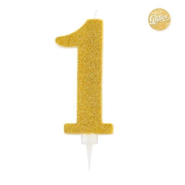 Vela Aniversário Big Size 15cm Dourado Glitter nº1