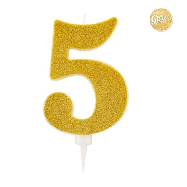 Vela Aniversário Big Size 15cm Dourado Glitter nº5