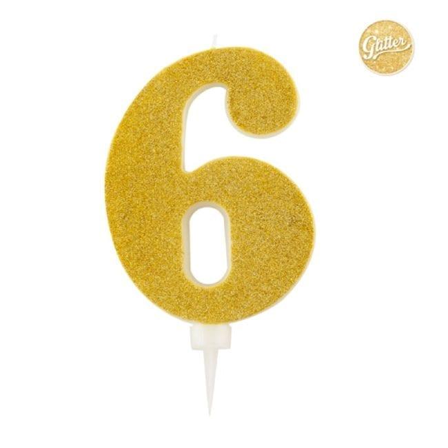 Vela Aniversário Big Size 15cm Dourado Glitter nº6