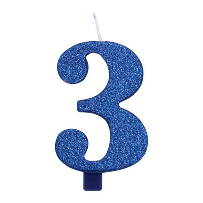 Vela Aniversário 9,5cm Azul Glitter nº3