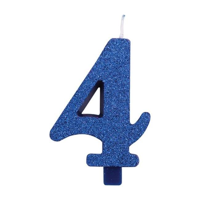 Vela Aniversário 9,5cm Azul Glitter nº4