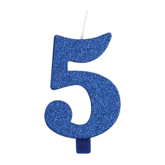 Vela Aniversário 9,5cm Azul Glitter nº5