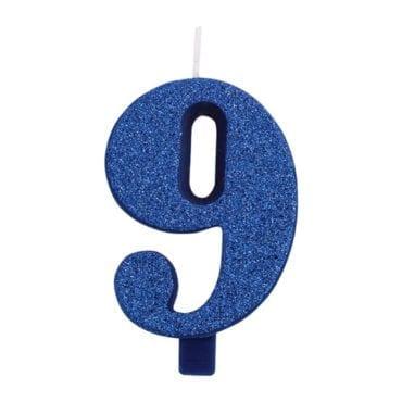 Vela Aniversário 9,5cm Azul Glitter nº9