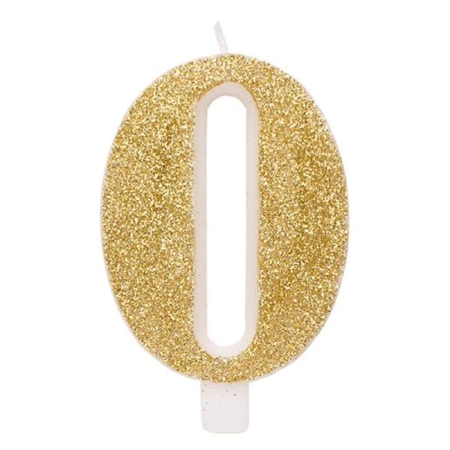 Vela Aniversário 9,5cm Dourado Glitter nº0