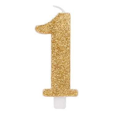 Vela Aniversário 9,5cm Dourado Glitter nº1