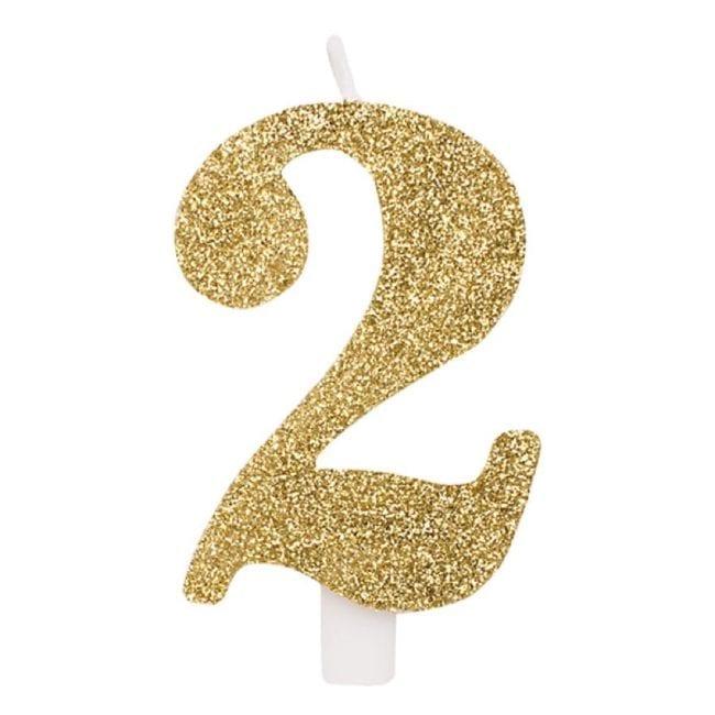 Vela Aniversário 9,5cm Dourado Glitter nº2