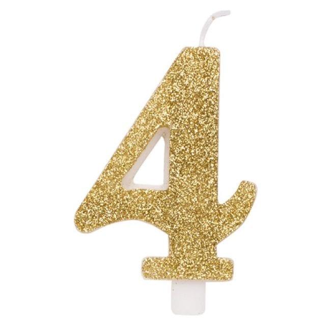 Vela Aniversário 9,5cm Dourado Glitter nº4