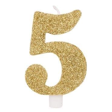 Vela Aniversário 9,5cm Dourado Glitter nº5