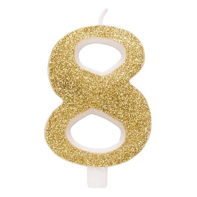 Vela Aniversário 9,5cm Dourado Glitter nº8