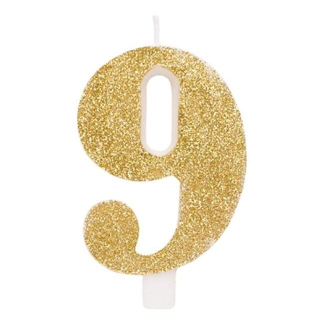 Vela Aniversário 9,5cm Dourado Glitter nº9