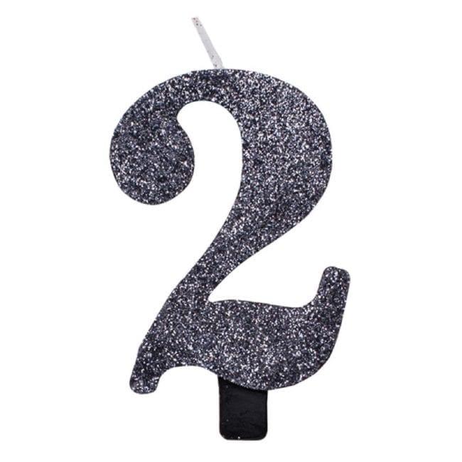 Vela Aniversário 9,5cm Preto Glitter nº2
